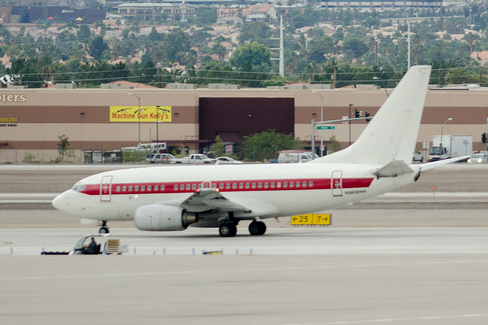 Secret Bonus! One of several unmarked Boeing 737-600s, N869HH flies top-secret personnel to and from Area-51 (Nellis AFB)