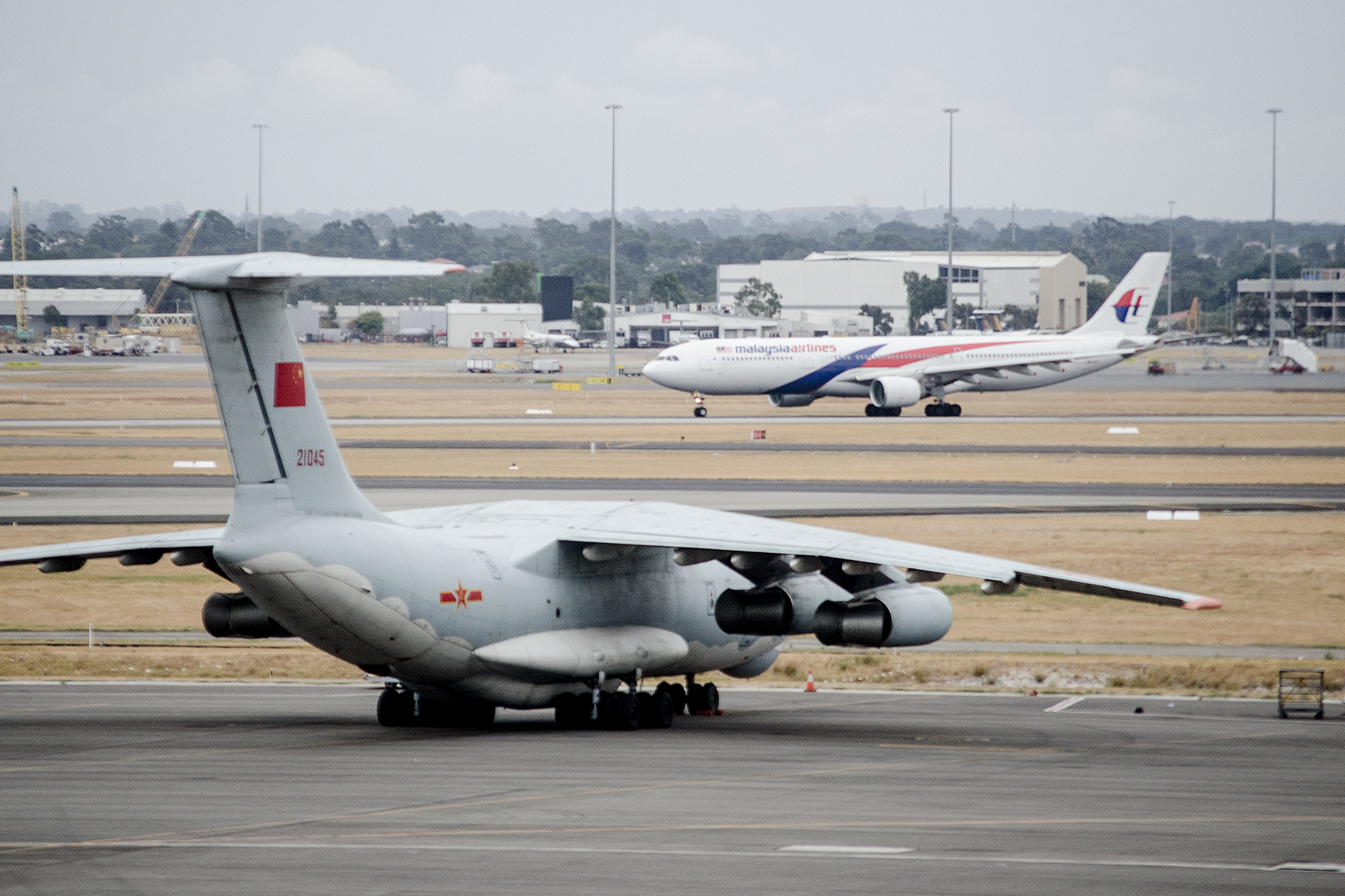 IL-76 21045 from the Chinese Military parked on the field during the initial hunt for MH370 in March 2014
